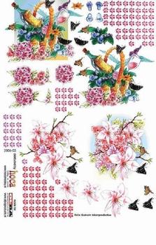 Olba 3D knipvel nr  3 beterschapsmand, bloemen, vlinders