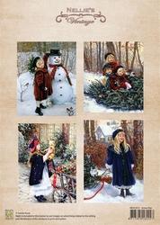 A4 Vel Nellie's Vintage Christmas Nevi015 colour Snow fun