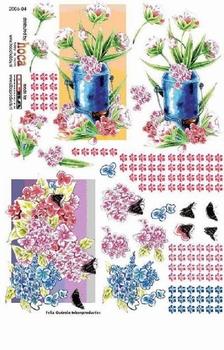 Olba 3D knipvel nr  4 bloemen, vlinders, gieter