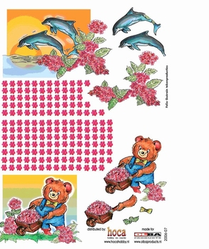 Olba 3D knipvel nr  7 bloemen en dolfijnen