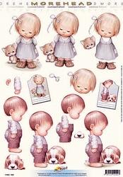 Morehead A4 Knipvel 040 Meisje met kitten/jongen met pup
