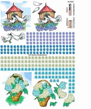Olba 3D knipvel nr  9 vogelhuisje, vogels, blauw en paars