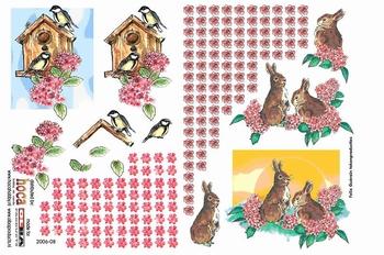 Olba 3D knipvel nr  8 vogelhuisje, bloemen en konijnen
