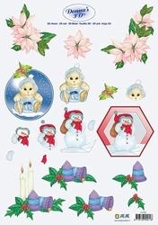 3D Kerstknipvel Donna Jeje 3.4102 Christmas assorti