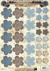 A4 Stansvel Studio Light 355 Vintage Bloemen blauw/bruin