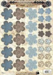 A4 Stansvel Studio Light EASYSL355 Vintage Bloemen blauw