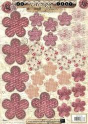 A4 Stansvel Studio Light 356 Vintage Bloemen roze