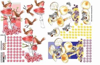 Olba 3D knipvel nr  5 vogels, muizen, paddestoelen, herfst