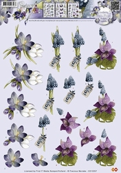 3D Knipvel Precious Marieke CD10357 Bloemen blauw druifje ea