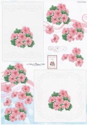 Ann's Paper Art 3D Stitching knipvel B025 Roze bloemen