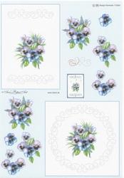 Ann's Paper Art 3D Stitching knipvel 84 Bloem/viooltjes