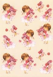 3D Knipvel B0101 Meisje met bloemen