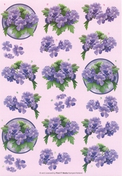 3D Knipvel B090 Paarse bloemen in cirkel
