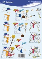 3D Kerstknipvel VBK 2115 Sneeuwmannen