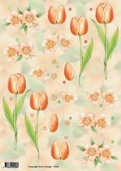 3D Knipvel Anne Design VBK 2456 Oranje bloemen tulp