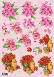 3D Knipvel Anne Design VBK 2548 Roze bloemen ea