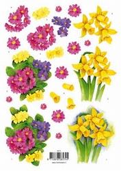 3D Knipvel voorbeeldkaarten 8574 Narcissen/primula's