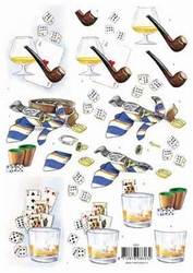 3D Knipvel voorbeeldkaarten 8603 Heren kaarten/drank/poker
