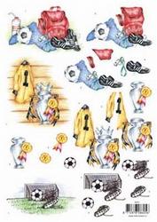 3D Knipvel voorbeeldkaarten 8605 Voetbal/beker/goal