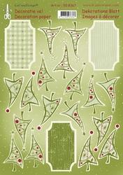 LeCreaDesign A4 Knipvel 508350 3D Christmas tree label groen