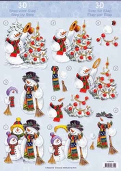 A4 Kerstknipvel Avec 4008056 Sneeuwman bij kerstboom