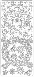 Stickervel Zwart/wit 0214 Bloemen Randen