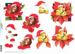 A4 Kerstknipvel Doe Maar 11-055-085 Beertjes met muts