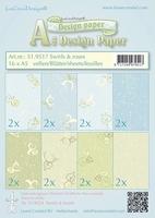 LeCreaDesign papier 519517 Swirls & roses blauw/groen