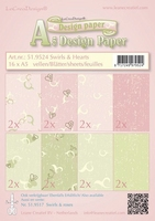 LeCreaDesign papier 519524 Swirls & hearts roze/groen