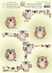 LeCreaDesign A4 Knipvel 509531 Owlie's met bloem
