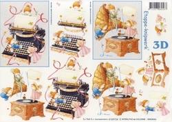 A4 Knipvel Le Suh 4169104 Typmachine & grammofoon met muisje