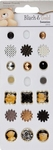 Docrafts Papermania 353013 Brads black & gold