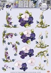 3D Knipvel Precious Marieke CD10356 Bloemen blauw druifje ea