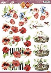3D Knipvel Erica van Leeuwen CD10349 Bloemen klaproos