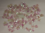 Bloemen pailletten 304 wit transparant met puntig blad