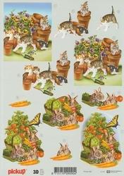 3D Knipvel Pick UP Pu062 Dieren Poezen/konijnen/tuin