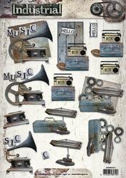 A4 Knipvel Studio Light Industrial 3D SL1317 Grammofoon ea