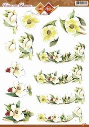 3D Knipvel Erica van Leeuwen CD10351 Witte bloemen