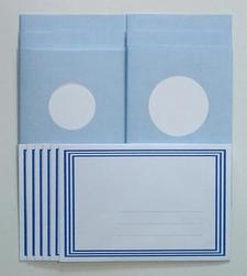 LeCreaDesign Sticker-V-Stitch Passepartout kaartenset blauw