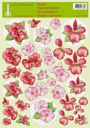 LeCreaDesign A4 Knipvel bloemen rood