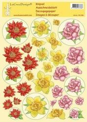LeCreaDesign A4 Knipvel bloemen geel