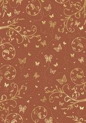 cArt-Us Satin karton folie bruin/goud swirls & vlinders