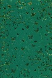 cArt-Us Satin karton folie groen/goud swirls & vlinders