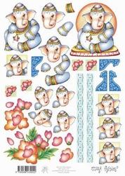 A4 Knipvel Marij Rahder 47 Baby olifant