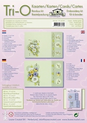 Leane Creatief Tri-O kaarten borduurkit 516530 groen/d groen
