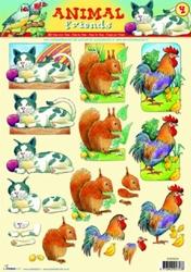 A4 Knipvel Studio Light AF04 Animal Friends kat/haan/eekhoor