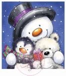 Wild Roses Studio Stamp CL271 Snowman Hugs