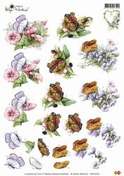 3D Knipvel Helga Martare CD10375 Bloemen met vlinders