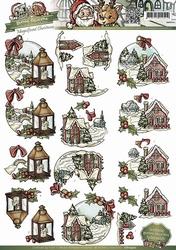 3D Knipvel Yvonne Creations CD10402 Huisjes in de sneeuw