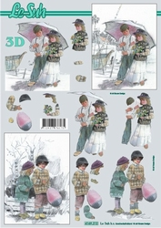 A4 Knipvel Le Suh 4169212 Jongen & meisje onder paraplu